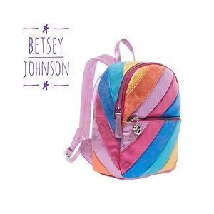 Betsey Johnson rainbow STRIPE HYPE SMALL BACKPACK